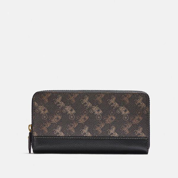 Fashion Runway Coach Accordion Zip Wallet With Horse And Carriage Print