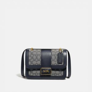 Fashion Runway Coach Alie Shoulder Bag In Signature Jacquard With Snakeskin Detail