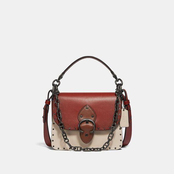 Fashion Runway Coach Beat Shoulder Bag 18 In Colorblock With Rivets