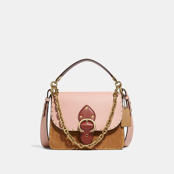 Fashion Runway Coach Beat Shoulder Bag In Colorblock With Rivets