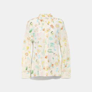 Fashion Runway Coach Button Up Blouse