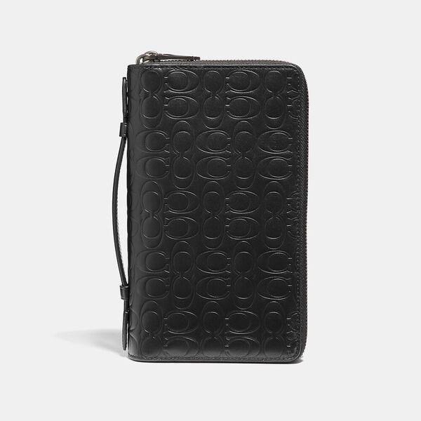 Fashion Runway Coach Double Zip Travel Organizer In Signature Leather