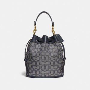 Fashion Runway Coach Field Bucket Bag In Signature Jacquard