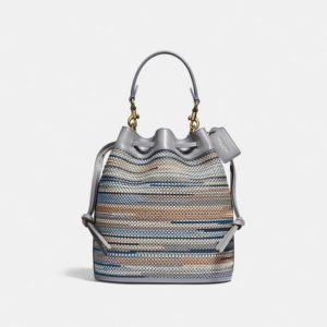 Fashion Runway Coach Field Bucket Bag In Upwoven Leather