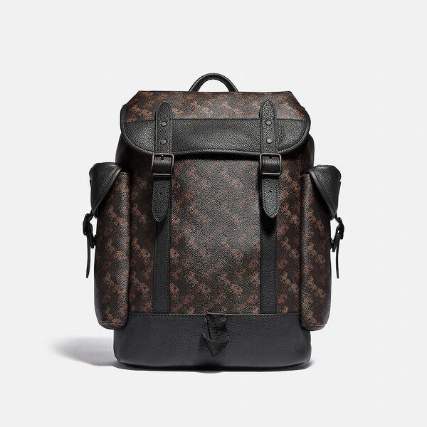Fashion Runway Coach Hitch Backpack With Horse And Carriage Print