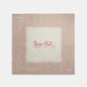Fashion Runway Coach Horse And Carriage Tea Rose Print Oversized Square Scarf