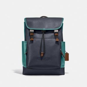 Fashion Runway Coach League Flap Backpack In Colorblock