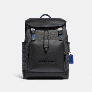 Fashion Runway Coach League Flap Backpack In Signature Jacquard