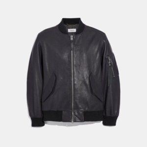 Fashion Runway Coach Leather Ma-1 Jacket