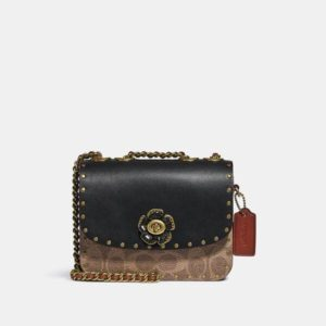 Fashion Runway Coach Madison Shoulder Bag 16 In Signature Canvas With Rivets