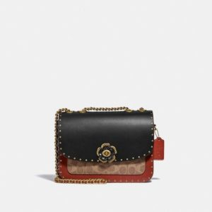 Fashion Runway Coach Madison Shoulder Bag In Signature Canvas With Rivets And Snakeskin Detail