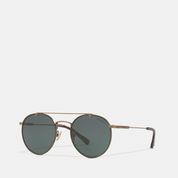 Fashion Runway Coach Thin Metal Round Sunglasses