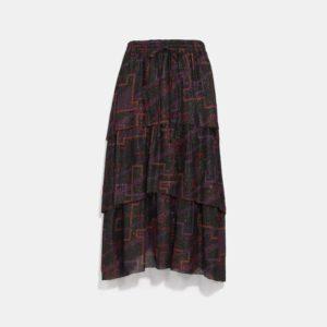 Fashion Runway Coach Tiered Midi Skirt