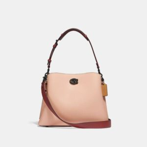 Fashion Runway Coach Willow Shoulder Bag In Colorblock With Signature Canvas Interior