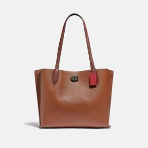 Fashion Runway Coach Willow Tote In Colorblock With Signature Canvas Interior