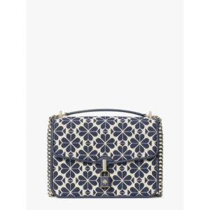 Fashion Runway - spade flower jacquard locket large flap shoulder bag